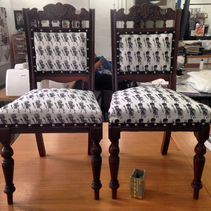 These chairs, made by Louise Jolley were upholstered using our cotton drill.