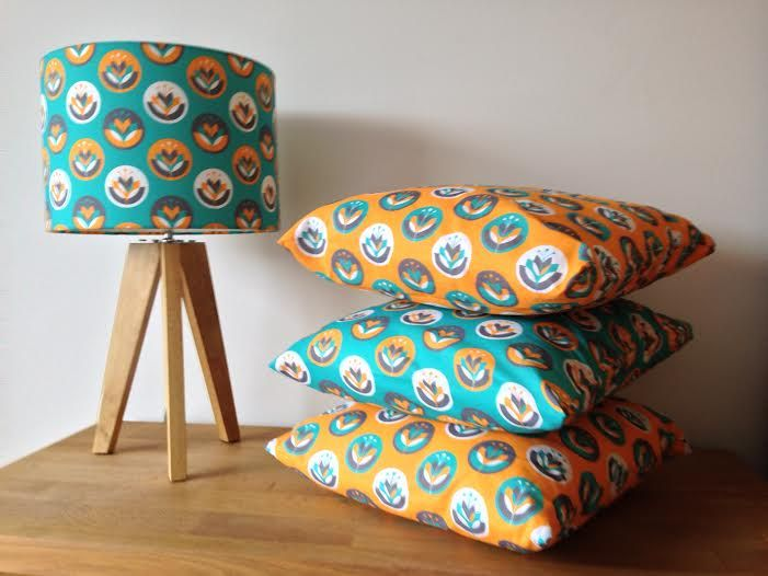 These cushions and lamp shade were made by Clare Cosens using our plain cotton.